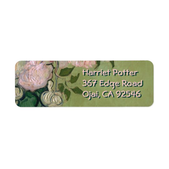 Pink Roses Van Gogh Fine Art Return Address Label