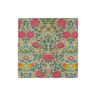 Pink Roses Vintage Chintz Pattern Stone Magnets
