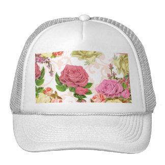 Pink roses vintage floral pattern hats
