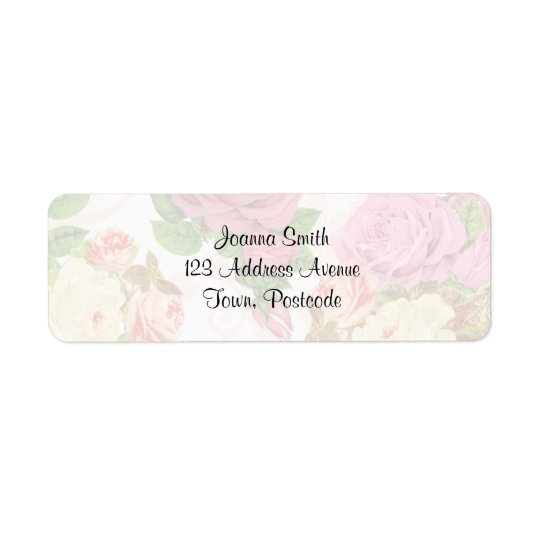 Pink roses vintage floral pattern return address label