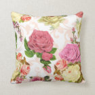 Pink roses vintage floral pattern throw pillow