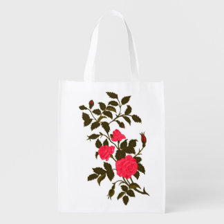 Pink Roses Vintage Rambling Rose Image Reusable Grocery Bag