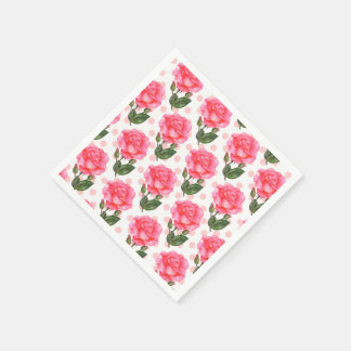 Pink Roses Watercolor Illustration Floral Art Disposable Napkin