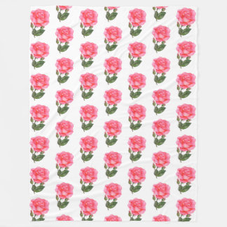 Pink Roses Watercolor Illustration Floral Art Fleece Blanket