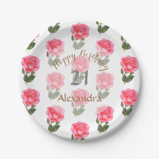 Pink Roses Watercolor Illustration Floral Art Paper Plate