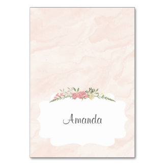 Pink Roses Watercolor Place Card