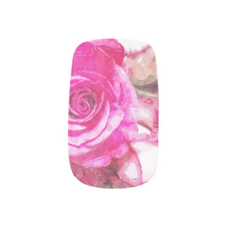 Pink Roses watercolour nail decals bywhacky