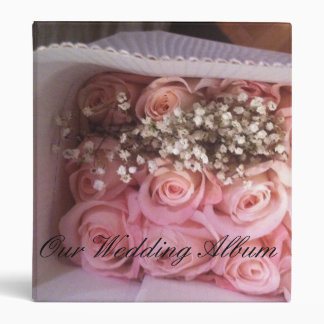 Pink Roses Wedding Album 3 Ring Binder