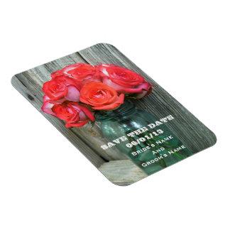 Pink Roses Wedding Save The Date Rectangular Photo Magnet