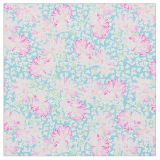 Pink Roses White Butterflies on Sky Blue Fabric