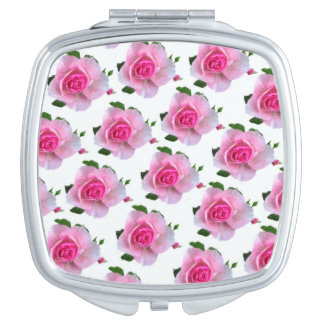 Pink Roses White Compact Mirror