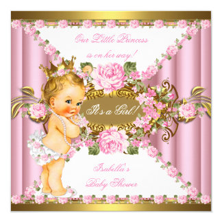 Pink Roses White Gold Princess Baby Shower Blonde Card