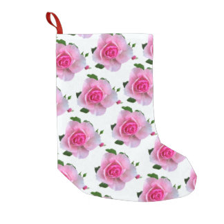 Pink Roses White Small Christmas Stocking