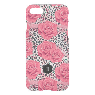 Pink Roses Wild Leopard Print Personalized iPhone 8/7 Case