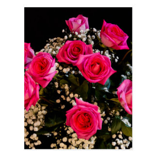Pink Roses With All My Love Postcard