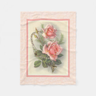 Pink Roses with Rosary Fleece Blanket