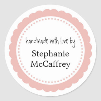 Pink rosette handmade custom label party favour round sticker