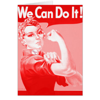 "Pink Rosie the Riveter ""We Can Do It!"" Note Card"