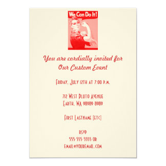 """Pink Rosie the Riveter """"We Can Do It!"""" Poster 5"""" X 7"""" Invitation Card"""