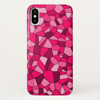 Pink & Rosy Monochrome Geometric Mosaic Pattern iPhone X Case