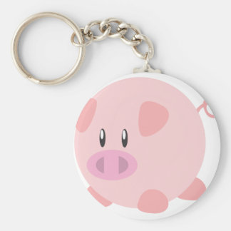 Pink Round Pig Key Chain