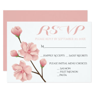 PINK RSVP FLORAL CHERRY BLOSSOMS WEDDING FLOWERS CARD