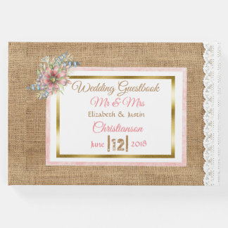 PInk Rustic Burlap Floral Wedding Book