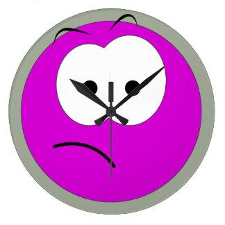 Pink Sad Face Clock