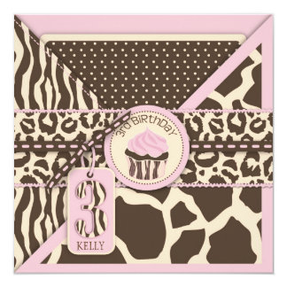 Pink Safari Animal Print & Cupcake Third Birthday Card