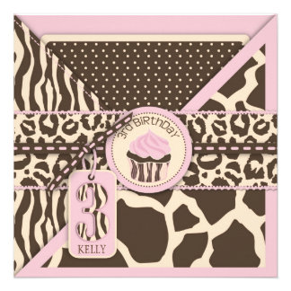Pink Safari Animal Print Cupcake Third Birthday Invitation