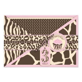Pink Safari & Cupcake Third Birthday Enclosure Custom Invitations