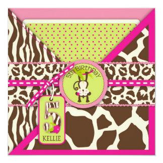 Pink Safari Jungle Monkey Fifth Birthday Card