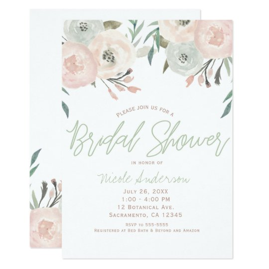 Pink & Sage Mint Green Modern Floral Bridal Shower Card