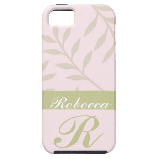 Pink, Sage Personalized Leaf Pattern iPhone 5 Case