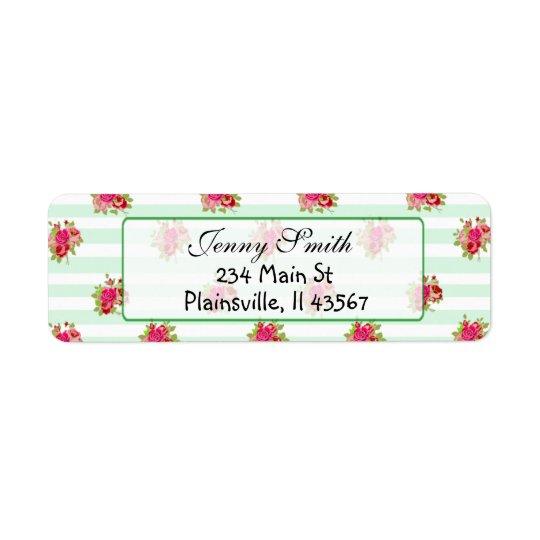 Pink & Sage Vintage Rose Return Address Label