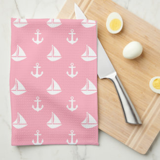 Pink Sailboats and Anchors Pattern Kitchen Towel
