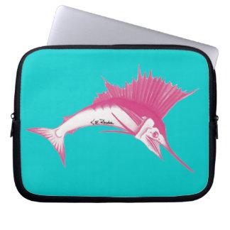 Pink Sailfish laptop sleeve