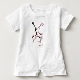 pink sakura and birds, tony fernandes baby romper