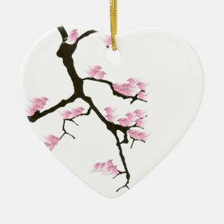 pink sakura and birds, tony fernandes ceramic ornament
