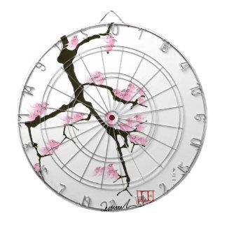 pink sakura and birds, tony fernandes dartboard