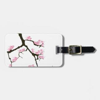 pink sakura and birds, tony fernandes luggage tag