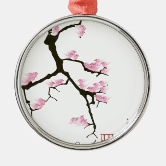 pink sakura and birds, tony fernandes metal ornament