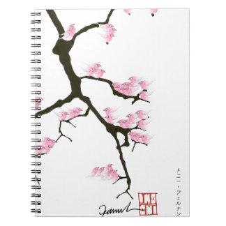 pink sakura and birds, tony fernandes notebook
