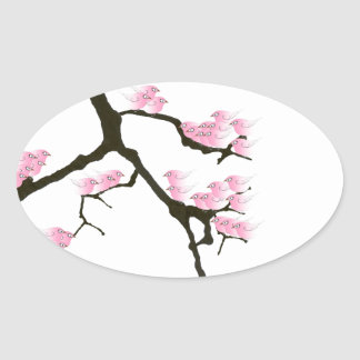pink sakura and birds, tony fernandes oval sticker