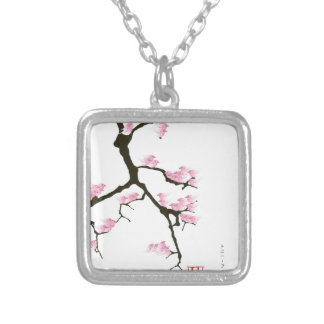 pink sakura and birds, tony fernandes silver plated necklace