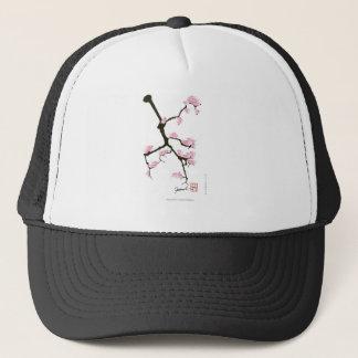 pink sakura and birds, tony fernandes trucker hat
