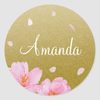 Pink Sakura Cherry Blossoms on Gold Name Sticker