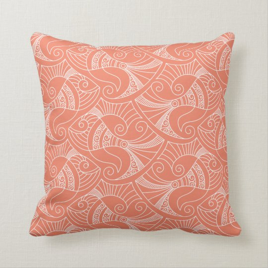 pink salmon background fish pattern | pillow