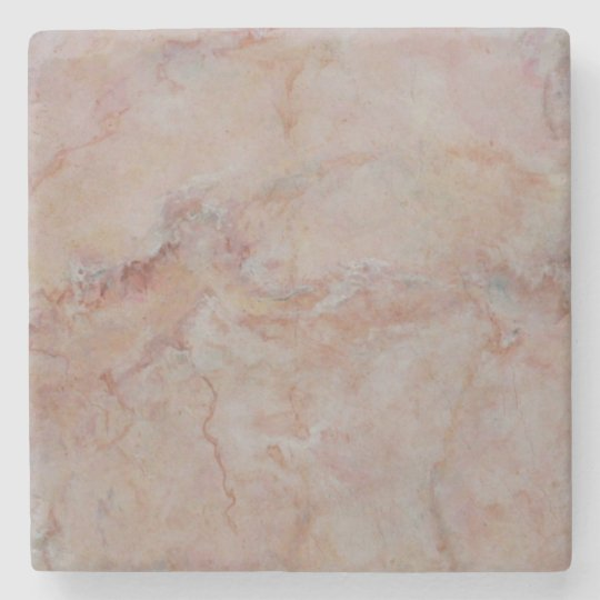 Pink Salmon Coral Marble Stone Finish Stone Coaster