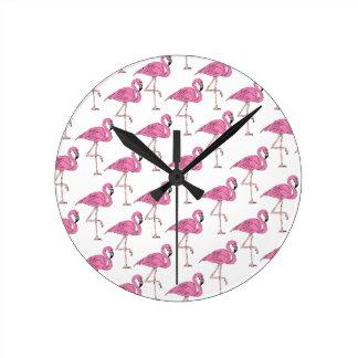 Pink Salmon - Flamingo Pattern Wall Clocks